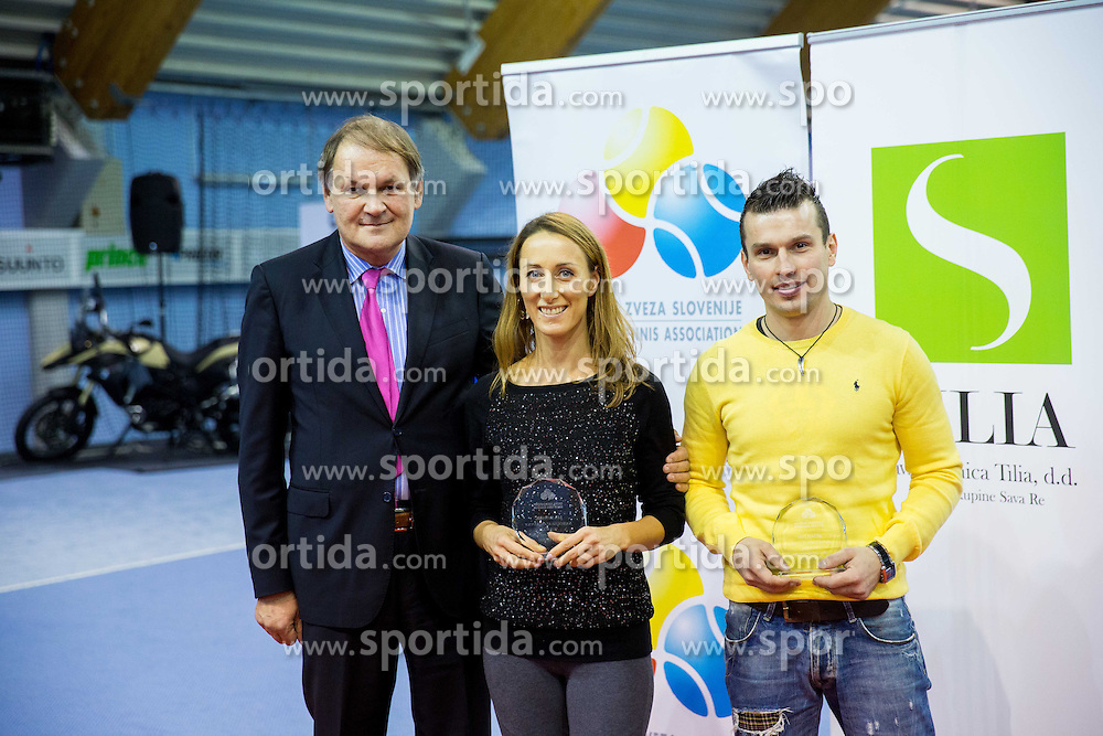 Marko Umberger, president of TZS, Lea Sunaric and Ales Macek  at Tennis exhibition day and Slovenian Tennis personality of the year 2013 annual awards presented by Slovene Tennis Association TZS, on December 21, 2013 in BTC City, TC Millenium, Ljubljana, Slovenia.  Photo by Vid Ponikvar / Sportida