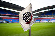 A view from the corner flag inside the University of Bolton stadium before the EFL Sky Bet League 1 match between Bolton Wanderers and Milton Keynes Dons at the University of  Bolton Stadium, Bolton, England on 16 November 2019.