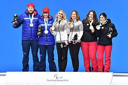 SANA Eleonor B2 BEL Guide: SANA Chloe, FARKASOVA Henrieta B3 SVK Guide: SUBRTOVA Natalia, KNIGHT Millie B2 GBR Guide: WILD Brett, ParaSkiAlpin, Para Alpine Skiing, Podium at PyeongChang2018 Winter Paralympic Games, South Korea.