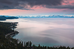 """Sunrise at Lake Tahoe 17"" - Photograph of a wavy Lake Tahoe East Shore shoreline shot at sunrise. Memorial Point and Sand Harbor can be seen."