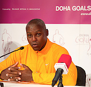 Picture by Paul Terry/Focus Images Ltd. 07545642257.31/07/12.Carl Lewis speaks during a press conference to announce the Doha GOALS Forum. GOALS is a  new initiative with the aim to build a community of hundreds of leaders from around the world who share the conviction that sport is a crucial vehicle for social and economic development.