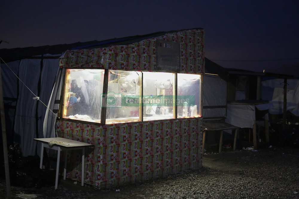October 24, 2016 - Calais, Nord-Pas-de-Calais-Picardie, France - Picture of one of the few shops that are still open in the Jungle. The French state has started processing the inhabitants of the Jungle refugee camp in Calais and distribute them to centres around France. Not all of the 6 to 10 thousand refugees living in the Jungle (according to different estimates) are expected to leave voluntarily and some have already disappeared. (Credit Image: © Michael Debets/Pacific Press via ZUMA Wire)