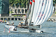 JP Morgan, Day three of the Extreme Sailing Series regatta being sailed in Singapore. 22/2/2014