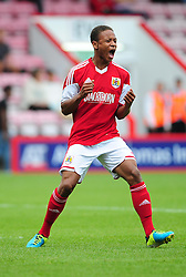 Bristol City's Bobby Reid yells after missing a header - Photo mandatory by-line: Dougie Allward/JMP - Tel: Mobile: 07966 386802 27/03/2013 - SPORT - FOOTBALL - Goldsands Stadium - Bournemouth -  Bournemouth V Bristol City - Pre Season friendly