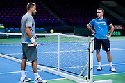 (L) Michal Przysiezny &amp; (R) Jan Zielinski both from Poland while training session three days before the BNP Paribas Davis Cup 2014 between Poland and Croatia at Torwar Hall in Warsaw on April 1, 2014.<br /> <br /> Poland, Warsaw, April 1, 2014<br /> <br /> Picture also available in RAW (NEF) or TIFF format on special request.<br /> <br /> For editorial use only. Any commercial or promotional use requires permission.<br /> <br /> Mandatory credit:<br /> Photo by &copy; Adam Nurkiewicz / Mediasport