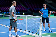 (L) Michal Przysiezny & (R) Jan Zielinski both from Poland while training session three days before the BNP Paribas Davis Cup 2014 between Poland and Croatia at Torwar Hall in Warsaw on April 1, 2014.<br /> <br /> Poland, Warsaw, April 1, 2014<br /> <br /> Picture also available in RAW (NEF) or TIFF format on special request.<br /> <br /> For editorial use only. Any commercial or promotional use requires permission.<br /> <br /> Mandatory credit:<br /> Photo by © Adam Nurkiewicz / Mediasport