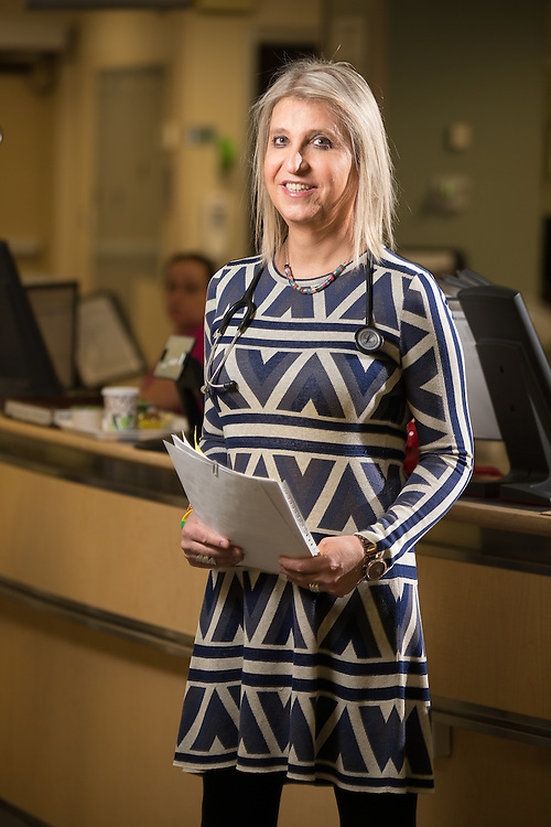 Dr Carys Massarella poses for a photograph in the Emergency room at theSt. Joseph's Health Care centre in Hamilton, Ontario, April 17, 2014.