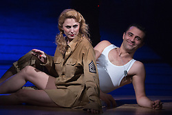 "© Licensed to London News Pictures. 16/10/2013. London, England. Pictured: Rebecca Thornhill and Darius Campbell relaxing during the photocall. The Musical ""From Here to Eternity"" opens at the Shaftesbury Theatre on 23 October 2013 starring Darius Campbell, Siubhan Harrison, Robert Lonsdale and Rebecca Thornhill. This brand new musical is directed by Tamara Harvey and lyrics by Tim Rice, music by Stuart Brayson and script by Bill Oakes. Photo credit: Bettina Strenske/LNP"
