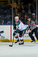 KELOWNA, CANADA - JANUARY 19:  Dalton Gally #3 of the Kelowna Rockets skates with the puck against the Prince Albert Raiders on January 19, 2019 at Prospera Place in Kelowna, British Columbia, Canada.  (Photo by Marissa Baecker/Shoot the Breeze)