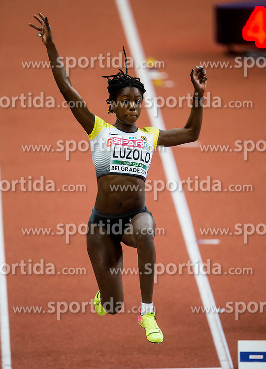 Maryse Luzolo of Germany competes in the Long Jump Women Qualification on day two of the 2017 European Athletics Indoor Championships at the Kombank Arena on March 4, 2017 in Belgrade, Serbia. Photo by Vid Ponikvar / Sportida