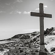 Summit of Observation Hill with cross set here by the crew of the 1911-1913 Terra Nova Expedition in memory of Scott, Wilson, Oats, Bowers and Evans who died while returning from the South Pole.