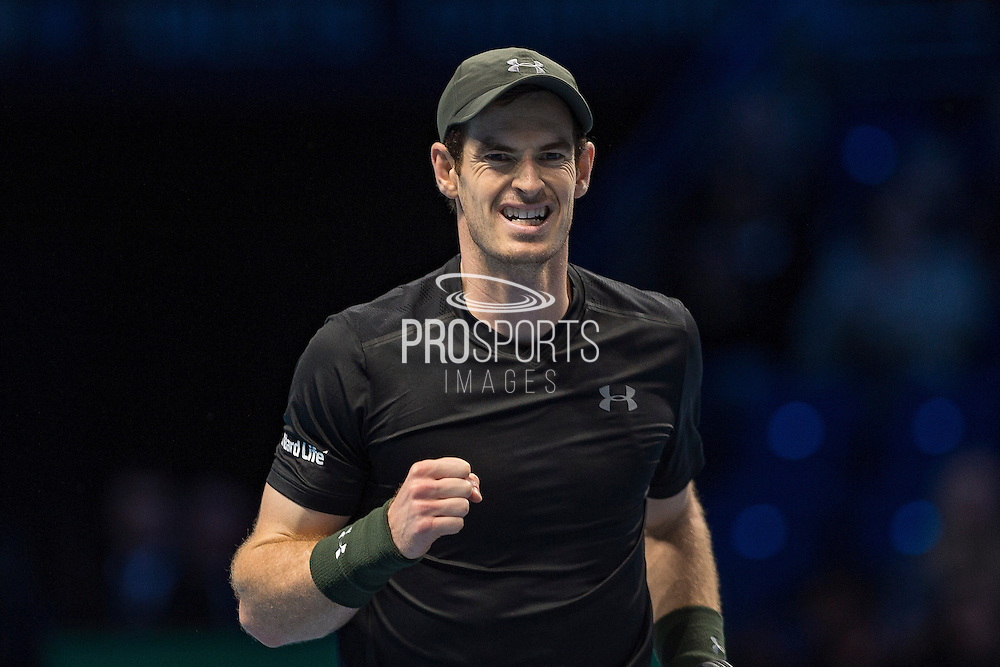 Andy Murray of Great Britain  fist clench during the semi-final and day seven of the Barclays ATP World Tour Finals at the O2 Arena, London, United Kingdom on 19 November 2016. Photo by Martin Cole.