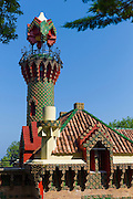 Belvedere Tower tourist attraction El Capricho de Gaudi (The Caprice Villa Quijano) at Comillas in Cantabria, Northern Spain