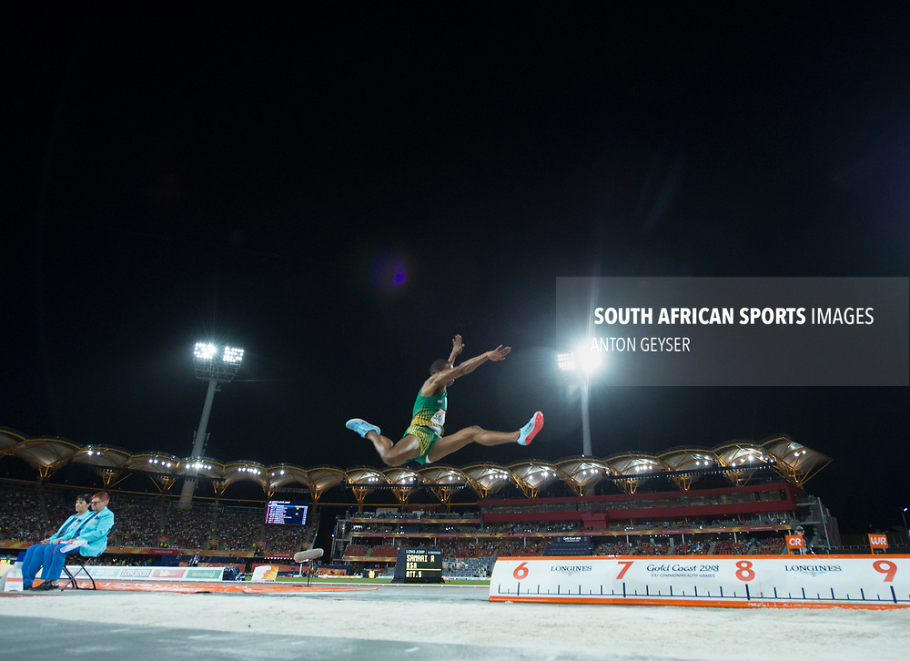 GOLD COAST, AUSTRALIA - APRIL 11: Ruswahl SAMAAI of South Africa in action during Men's Long Jump final on day 7 of the Gold Coast 2018 Commonwealth Games at the Gold Carrara Recreation Centre on April 11, 2018 in Gold Coast, Australia. (Photo by Anton Geyser)