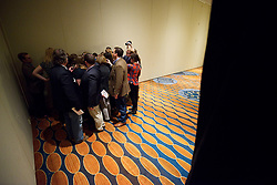"""US Representative Diane Black of Tennessee of Illinois finds herself in the midst of a media scrum, at the """"Congress of Tomorrow"""" Joint Republican Issues Conference, at the Loews Hotel, in Center City, Philadelphia, Pennsylvania, on January 25, 2017."""