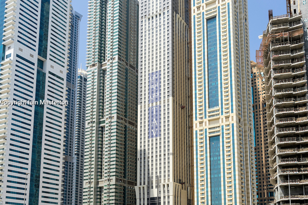 Detail of residential skyscrapers in Marina district of Dubai United Arab Emirates
