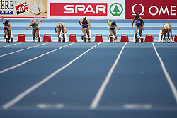 Start of women at the qualification of 60m women at the 2nd day of  European Athletics Indoor Championships Torino 2009 (6th - 8th March), at Oval Lingotto Stadium,  Torino, Italy, on March 6, 2009. (Photo by Vid Ponikvar / Sportida)