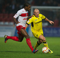 STEVENAGE, ENGLAND - Saturday, November 24, 2012: Tranmere Rovers' Andy Robinson in action against Stevenage's Anthony Grant during the Football League One match at Broadhall Way. (Pic by David Rawcliffe/Propaganda)