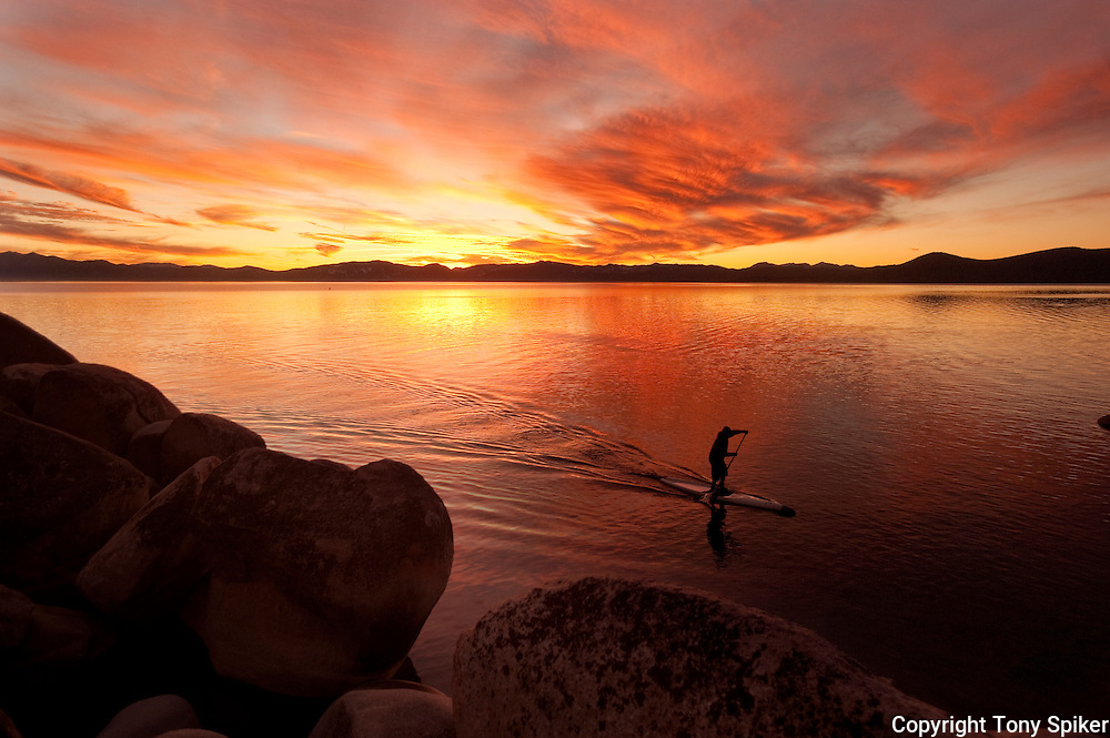 """Sand Harbor Sunset Paddle 4"" - The sun sets over Lake Tahoe at Speedboat Beach, California"