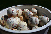 Mar 14, 2013; Sarasota, FL, USA; Baseballs sit in a bucket before the game between the Tampa Bay Rays and the Baltimore Orioles at Ed Smith Stadium.