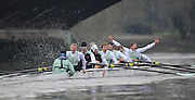 """LONDON, ENGLAND - Thursday  13/12/2012; Cambridge University Crew;  """"Bangers""""  crew Bow: Chris Snowden, 2: Mike Thorp, 3: Josh Hooper, 4: Alexander Leichter, 5: Ty Otto, 6: Stephen Dudek, 7: Milan Bruncvik, Stroke: Niles Garratt and Cox: Henry Fieldman, celebrate the win in the annual Varsity trial 8's for The BNY Melon University Boat Race over the Championship Course [Putney to Mortlake]. The River Thames, England. (Mandatory Credit/ Peter  Spurrier/Intersport Images]"""