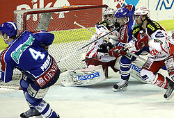 "15.03.2012, Dom Sportova, Zagreb, CRO, EBEL, KHL Medvescak Zagreb vs EC KAC, Playoff, Halbfinale, 5. Spiel, im Bild Sasha Pokulok, (KHL Medvescak Zagreb, #4), Andy Chiodo, (EC KAC, #31), Tomislav Zanoski, (KHL Medvescak Zagreb, #10), Markus Steiner, (EC KAC, #38) // during the semifinal Match of ""Erste Bank Icehockey League"", fith encounter between KHL Medvescak Zagreb and EC KAC at Dom Sportova, Zagreb, Croatia on 2012/03/15. EXPA Pictures © 2012, PhotoCredit: EXPA/ Pixsell/ Goran Stanzl     ATTENTION - OUT OF CRO, SRB, MAZ, BIH and POL *****"