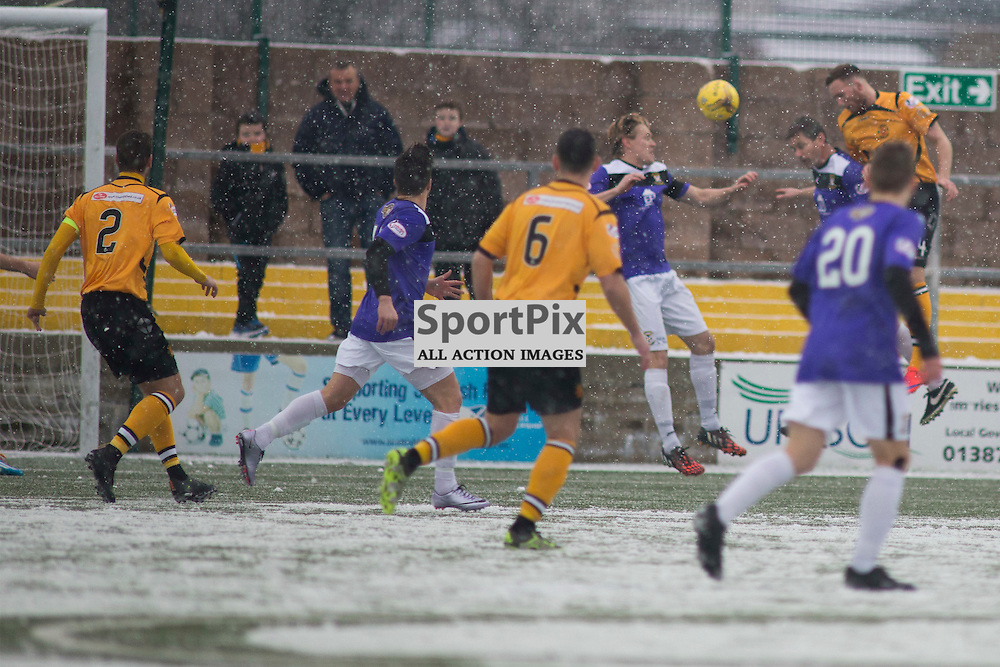 Annan Athletic v East Fife SPFL2 16 January 2016<br />Martin McNiff gets a header on goal.<br />(c) Russell G Sneddon / SportPix.org.uk