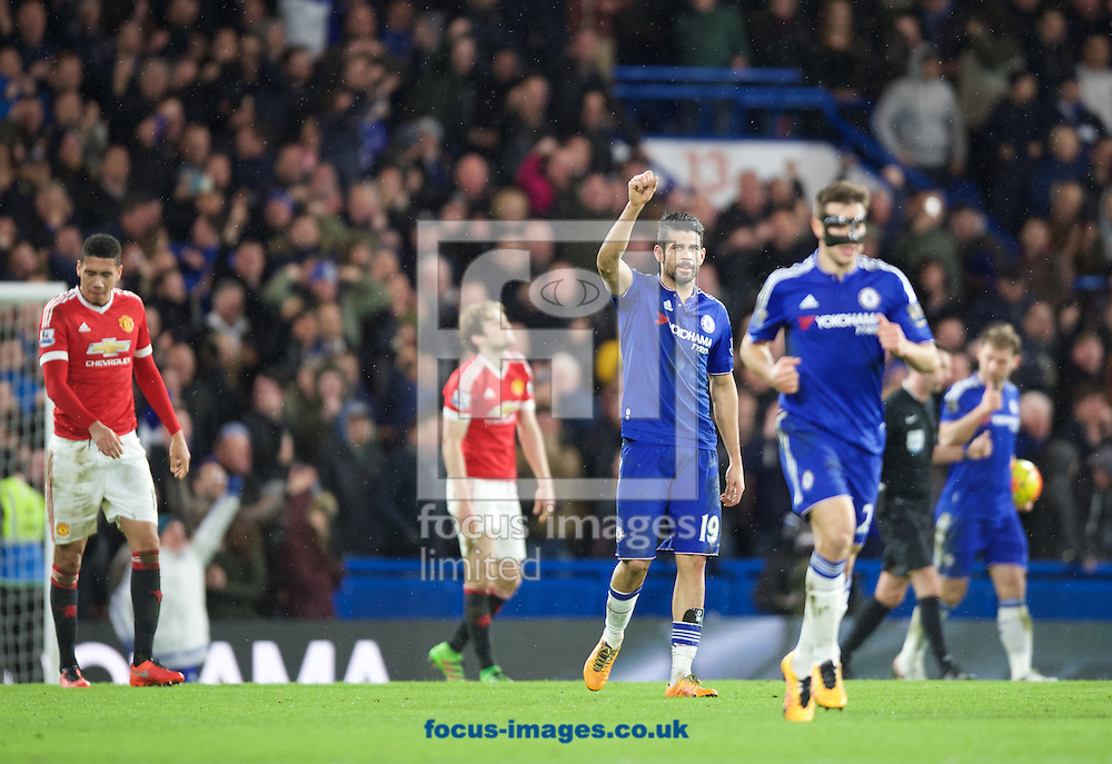 Diego Costa of Chelsea (19) celebrates after scoring the equaliser during the Barclays Premier League match at Stamford Bridge, London<br /> Picture by Alan Stanford/Focus Images Ltd +44 7915 056117<br /> 07/02/2016