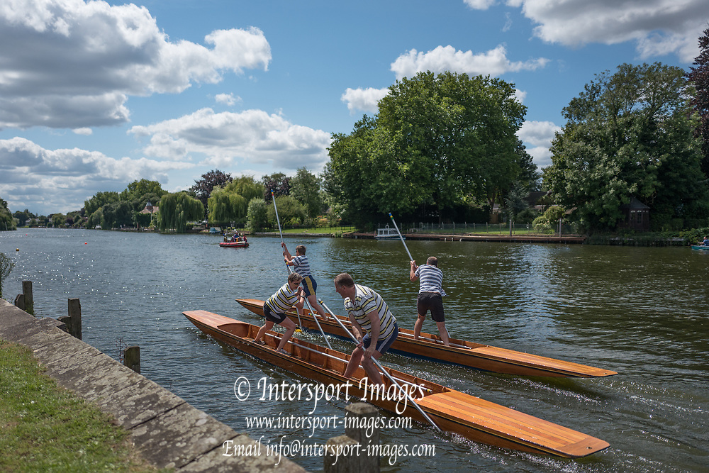 """Maidenhead, United Kingdom.  """"Mixed Doubles"""", in the first few meters of the start. """"Thames Punting Club Regatta"""", Bray Reach.<br />  Sunday  06/08/2017<br /> <br /> [Mandatory Credit. Peter SPURRIER Intersport Images}.<br /> <br /> LEICA Q (Typ 116) 28mm  f1.7   1/5000 /sec    100 ISO River Thames, .......... Summer, Sport, Sunny, Bright, Blue Skies, Skilful,"""