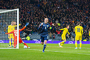 Steven Naismith (#9) of Scotland runs away to celebrate after scoring a goal during the UEFA European 2020 Group I qualifier match between Scotland and Kazakhstan at Hampden Park, Glasgow, United Kingdom on 19 November 2019.