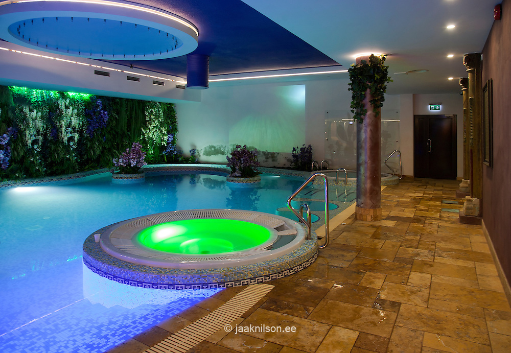 Lighted large colorful swimming pool and thermal bath in Viimsi Spa ...