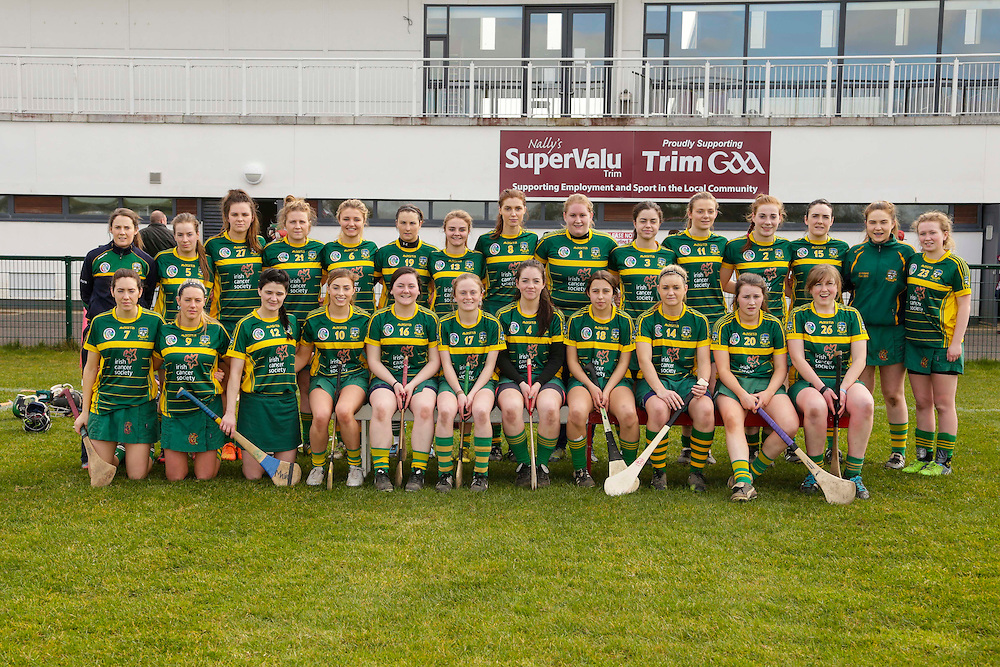National Camogie League Division 2 at Trim, 20th March 2016<br /> Meath vs Galway<br /> Meath Team, Back Row, L-R, Fiona O`Neill, Louise Donoghue, Rihannon Hoey, Maggie Randle, Cheyenne O`Brien, Aoife Thompson, Fia O`Brien, Kristina Troy, Emily Mangan, Claire Coffey, Aoife Minogue, Grace Coleman, Sinead Hackett, Laura Reilly, Niamh McLoughlin.<br /> Front Row, L-R, Aine Keogh, Marie Keogh, Katie Hackett, Amy Gaffney, Megan Thynne, Emma Coffey, Marie Kirby, Jane Dolan, Nadine Doyle, Maeve Clince.<br /> Photo: David Mullen /www.cyberimages.net / 2016
