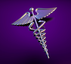 A Caduceus over a reflective Deep Purple background