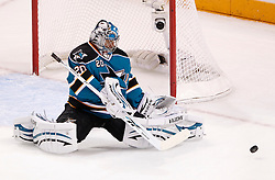May 18, 2010; San Jose, CA, USA; San Jose Sharks goaltender Evgeni Nabokov (20) makes a save during the first period of game two of the western conference finals of the 2010 Stanley Cup Playoffs against the Chicago Blackhawks at HP Pavilion.  The Blackhawks defeated the Sharks 4-2. Mandatory Credit: Jason O. Watson / US PRESSWIRE