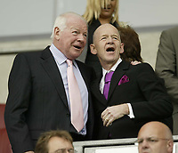 Photo: Aidan Ellis.<br /> Wigan Athletic v West Ham United. The Barclays Premiership. 28/04/2007.<br /> Wigan chairman Dave Whelan with West Ham's Maguns Heagman