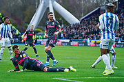 Leeds United midfielder Mateusz Klich (43) reacts to hitting the post during the EFL Sky Bet Championship match between Huddersfield Town and Leeds United at the John Smiths Stadium, Huddersfield, England on 7 December 2019.
