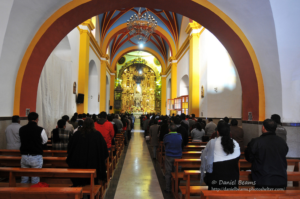 Mass in church in Copacabana, Bolivia