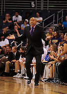June 10, 2010; Phoenix, AZ, USA; Phoenix Mercury head coach Corey Gaines reacts to a call during the second half in at US Airways Center.  The Mercury defeated the Lynx 99-88.  Mandatory Credit: Jennifer Stewart-US PRESSWIRE