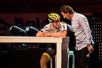 "GENT, BELGIUM, NOVEMBER 12:  Fabian Cancellara and Sep Vanmarcke pictured during ""Ciao Fabian"". An event to honour Fabian Cancellara's carreer. In Kuipke, Gent, Belgium on Saturday, november 12 2016 *** © Gregory Van Gansen***"