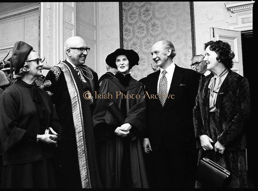 Honorary Degree For Joan Denise Moriarty.    (M65)..1979..05.04.1979..04.05.1979..5th April 1979..Joan Denise Moriarty, was an Irish ballet dancer, choreographer, teacher of ballet, and traditional Irish dancer and musician. She was the founder of professional ballet in Ireland. Her achievements were rewarded by the conferring of an honorary degree at University College ,Cork...Pictured at the conferring ceremony for Ms Joan Denise Moriarty were (L-R), Mrs Maureen Lynch, Dr T K Whittaker,Chancellor, National University of Ireland,Ms Moriarty, An Taoiseach,Mr Jack Lynch and Mrs Whittaker.
