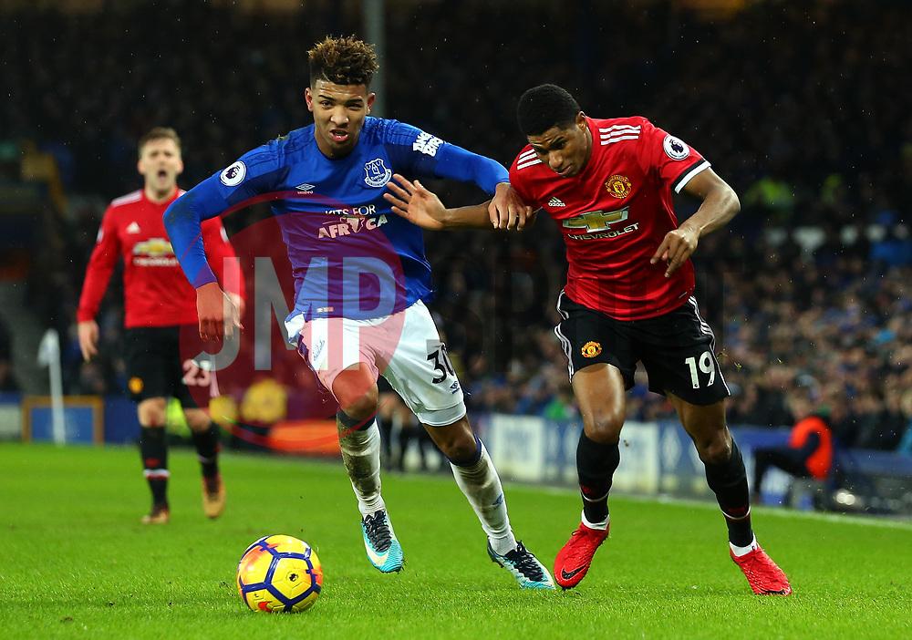Marcus Rashford of Manchester United goes past Mason Holgate of Everton - Mandatory by-line: Robbie Stephenson/JMP - 01/01/2018 - FOOTBALL - Goodison Park - Liverpool, England - Everton v Manchester United - Premier League