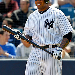 March 4, 2012; Tampa Bay, FL, USA; New York Yankees left fielder Andruw Jones (22) against the Philadelphia Phillies during spring training game at George M. Steinbrenner Field. Mandatory Credit: Derick E. Hingle-US PRESSWIRE
