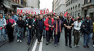 Roma 26 Novembre 2002.Manifestazione degli operai della Fiat di Termini Imerese per la difesa del posto di lavoro e contro i licenzimenti. Il movimento dei disobbedienti in corteo, Guido Lutrario, Luca Casarini, Don Vitaliano Della Sala.Rome 26 Novembre 2002.Workers of Fiat rally against the hypothetical of closure of Termini Imerese's Fiat plant or reduction of personnel.The movement of the disobedient in procession, Guido Lutrario, Luca Casarini, Don Vitaliano Della Sala.