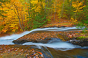 Cascading waterfall at Hatchery Falls on the Skeleton River. Muskoka Country.<br />Near Ullswater<br />Ontario<br />Canada
