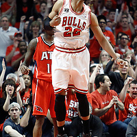 10 May 2011: Chicago Bulls forward Taj Gibson (22) reacts during the Chicago Bulls 95-83 victory over the Atlanta Hawks, during game 5 of the Eastern Conference semi finals at the United Center, Chicago, Illinois, USA.