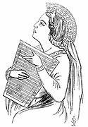 Playing a Psaltery. Woodcut c1840