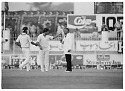 England fielder Bill Athey (left) intervenes in the dispute between their captain Mike Gatting and Pakistan Umpire Shakoor Rana during the 2nd Test Match, Pakistan v England at the Iqbal Stadium Faisalabad, 8.12.1987. Photograph: Graham Morris/cricketpix.com (Tel: +44 (0)20 8969 4192; Email: sales@cricketpix.com) Ref. No. 87663b17