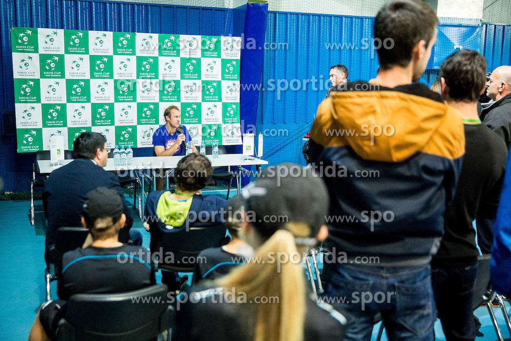 Grega Zemlja at press conference during Davis Cup Slovenia vs Lithuania competition, on October 30, 2015 in Kranj, Slovenia. Photo by Vid Ponikvar / Sportida