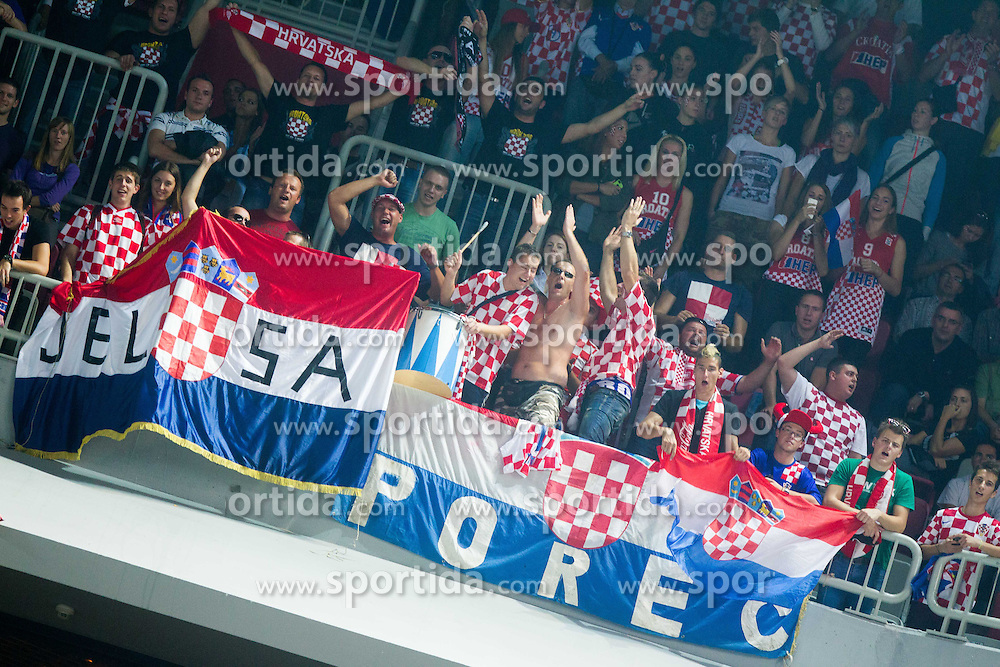 Fans of Croatia celebrate during basketball match between National teams of Croatia and Ukraine in Quarterfinals at Day 16 of Eurobasket 2013 on September 19, 2013 in Arena Stozice, Ljubljana, Slovenia. (Photo by Vid Ponikvar / Sportida.com)