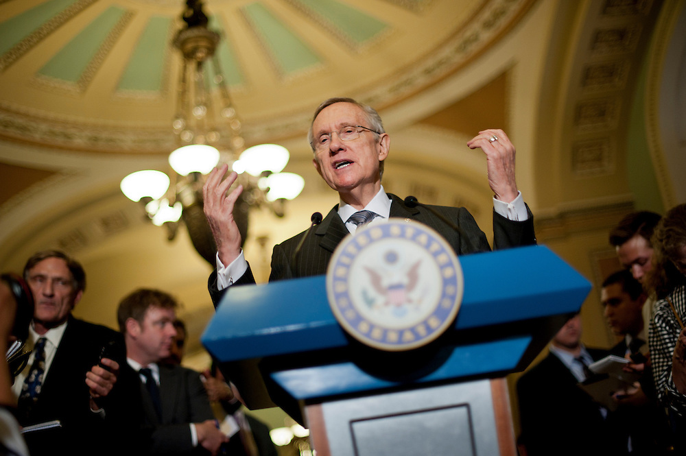 Senate Majority Leader HARRY REID (D-NV) speaks to the media about the looming deadline for budget negitiations following the weekly policy lunches at the Capitol on Tuesday.